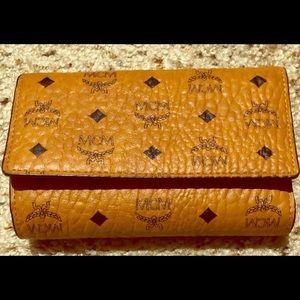 MCM Cognac Visetos Trifold Wallet